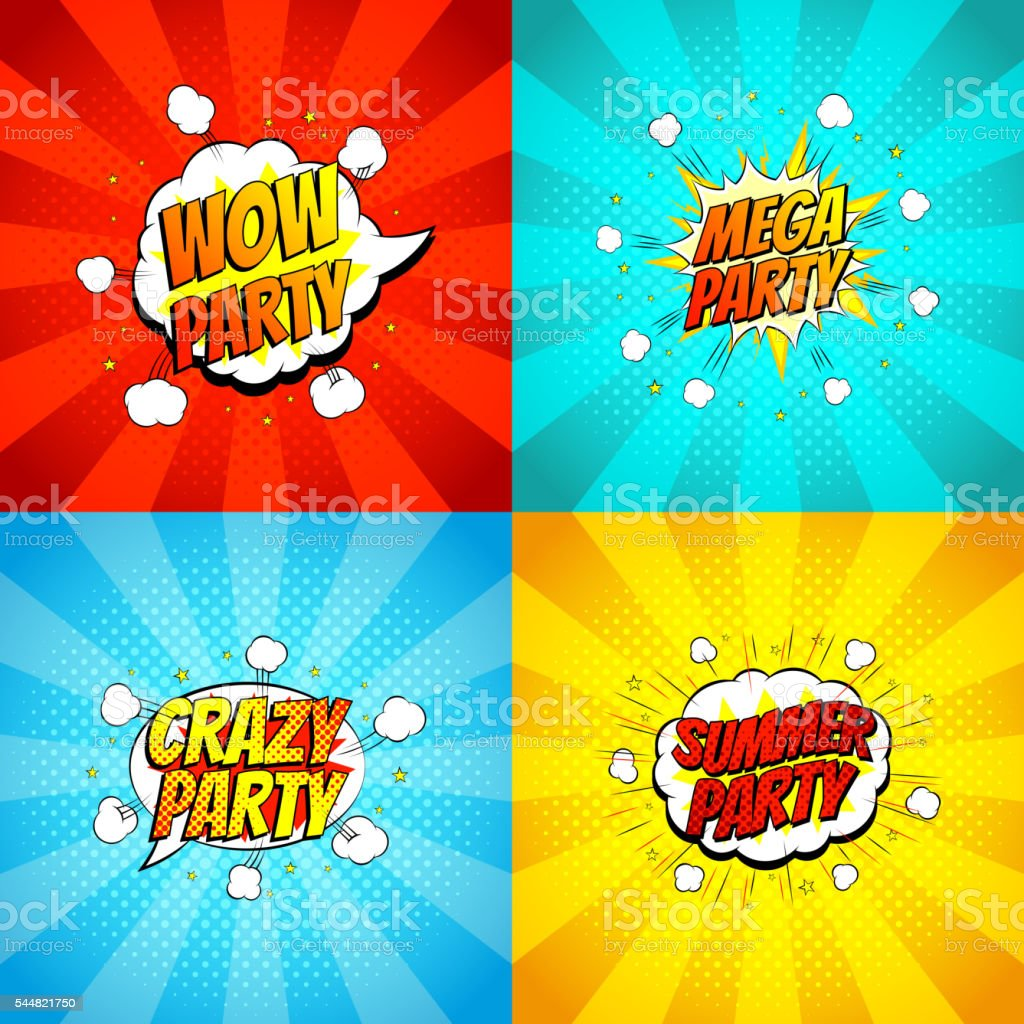 Set Of Disco Party Symbols In Pop Art Style Stock Vector Art More