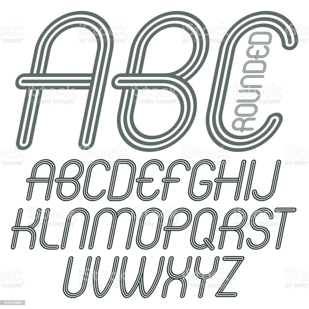 Set Of Disco Vector Upper Case English Alphabet Letters Abc Isolated Funky Italic Rounded