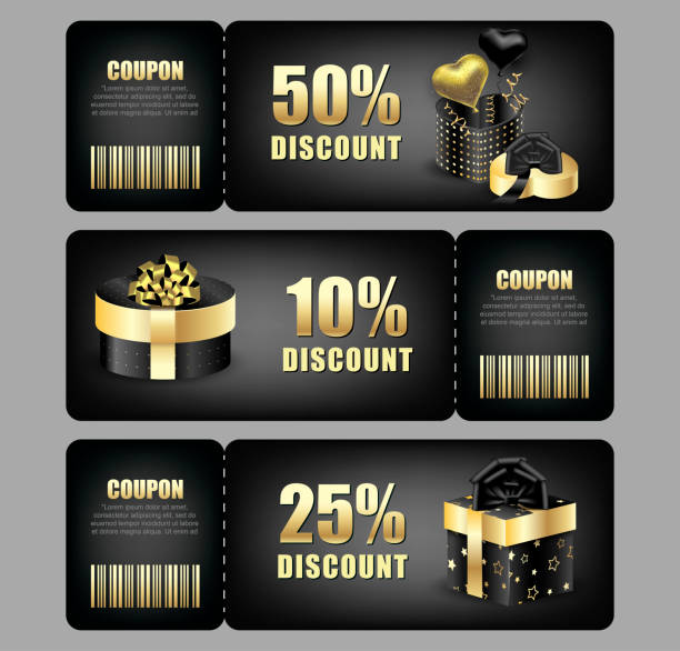 ilustrações de stock, clip art, desenhos animados e ícones de set of discount coupons with festive packaging box. christmas and new year discounts. vector background - gradients golden ribbons