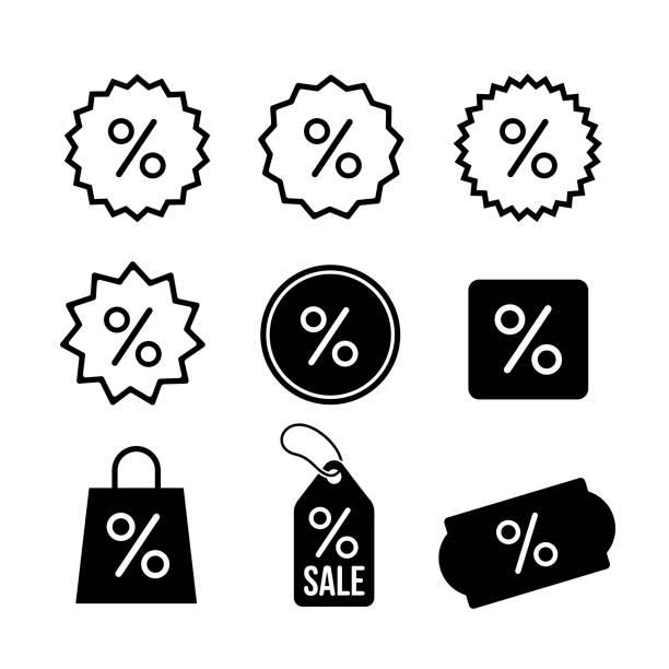 ilustrações, clipart, desenhos animados e ícones de conjunto de desconto, símbolo do ícone de percentagem. ilustração em vetor. isolado no fundo branco. - tag