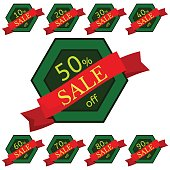 Set of discount stickers. Green hexagonal badges with red ribbon for sale 10 - 90 percent off. Vector illustration.