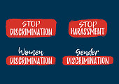 Set of Discrimination, Racism and Harassment label. Font with Brush. Equal Rights Badges. Vector illustration icon