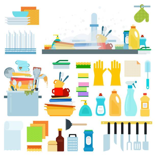 ilustrações de stock, clip art, desenhos animados e ícones de set of dish washing flat vector illustration. - loiça