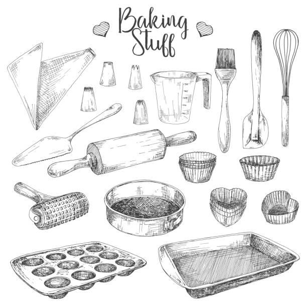 베이킹에 요리의 집합입니다. 물건 스케치 스타일에서 벡터 일러스트 레이 션 베이킹 - baking stock illustrations