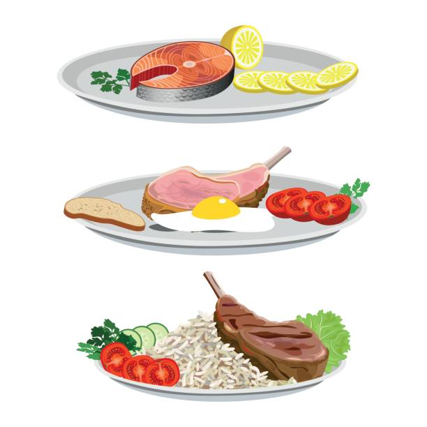 ilustraciones, imágenes clip art, dibujos animados e iconos de stock de conjunto de platos de pescado y carne - comida cruda