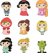 9 cute cartoon story people icon