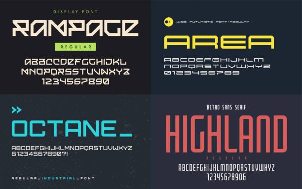 stockillustraties, clipart, cartoons en iconen met set van schermlettertypen, lettertypen, vector hoofdletters en cijfers. - breed