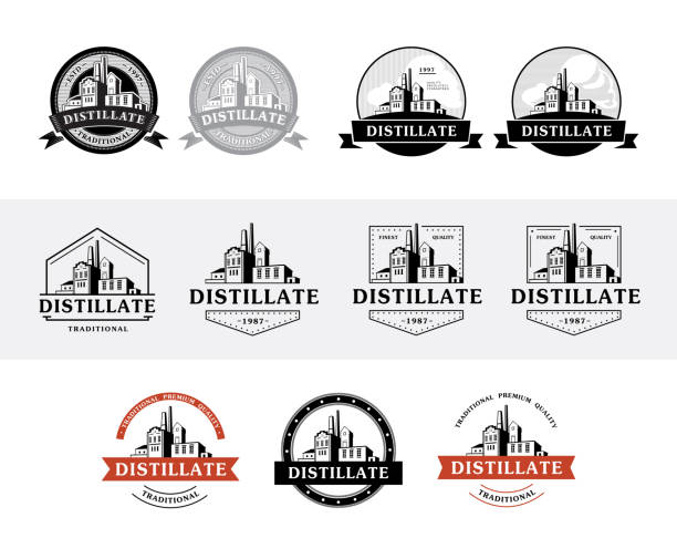 Set of distillery production icons vector art illustration