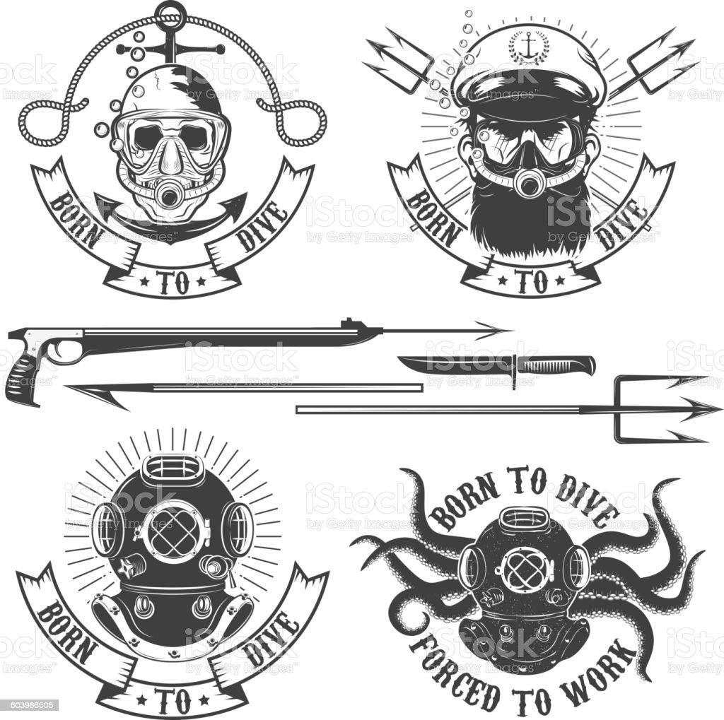 Set of diver emblems. Diving club or school emblem template. vector art illustration
