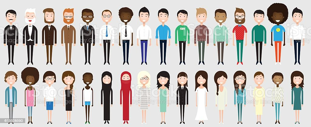 Set of diverse business people vector art illustration