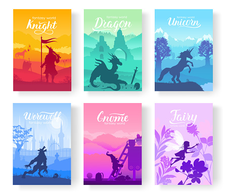 Set of diverse fantasy worlds illustration. Fantasy creatures from old myths and fairy tales. Template of magazines, poster, book cover, banners. Landscape invitation concept background