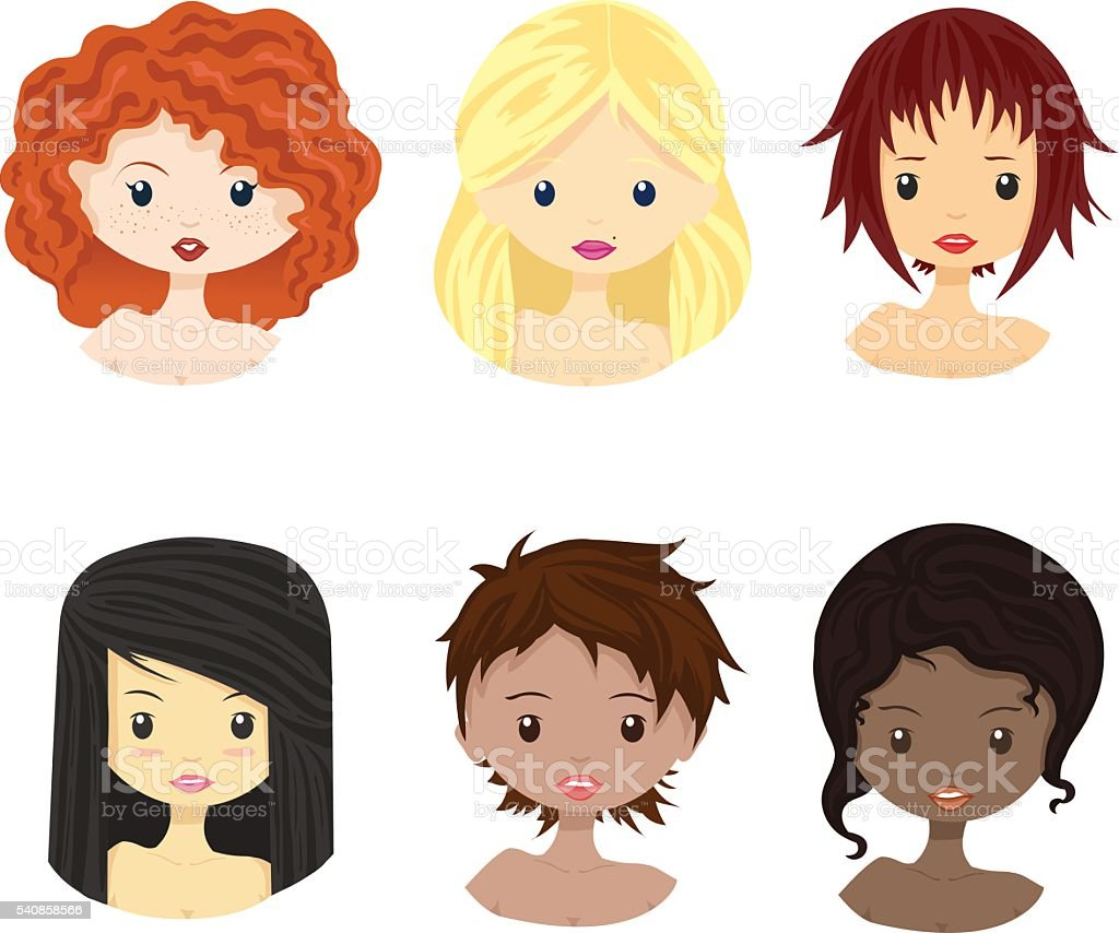 Set of diverse female woman girl avatars isolated. vector art illustration