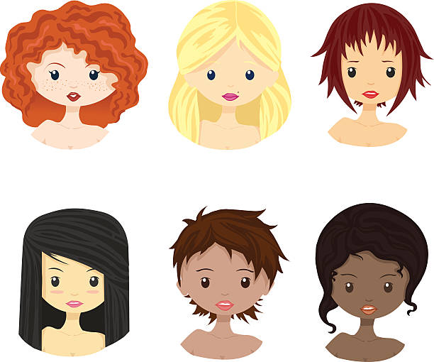 set of diverse female woman girl avatars isolated. - redhead stock illustrations, clip art, cartoons, & icons