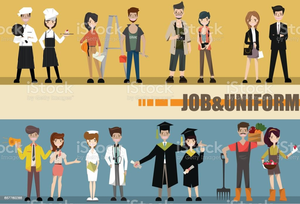 Set of diverse occupation professions, professional people. Flat design people characters. vector art illustration