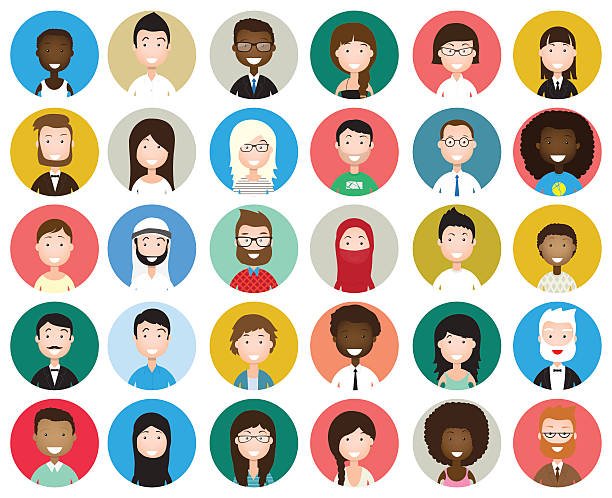 set of diverse round avatars - female faces stock illustrations, clip art, cartoons, & icons