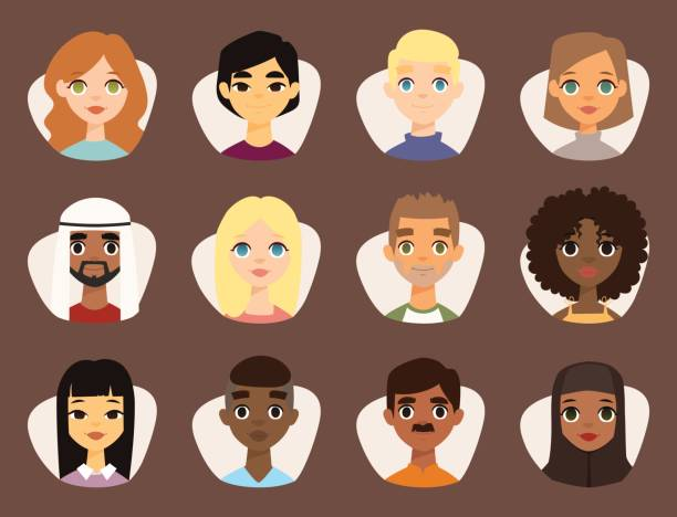ilustraciones, imágenes clip art, dibujos animados e iconos de stock de conjunto de diversos avatares redondeos con rasgos faciales diferentes nacionalidades ropa y peinados gente personajes vector ilustración - mapa de oriente medio