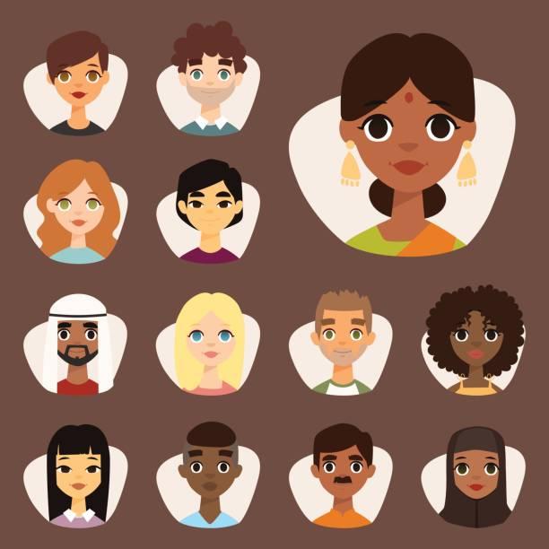 Conjunto de diversos avatares redondeos con rasgos faciales diferentes nacionalidades ropa y peinados gente personajes vector ilustración - ilustración de arte vectorial