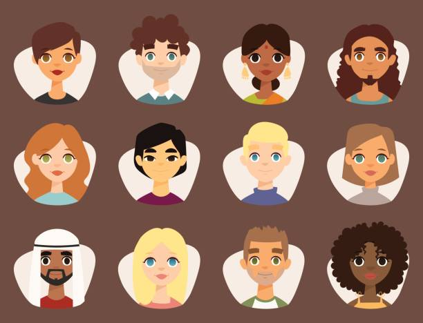 illustrazioni stock, clip art, cartoni animati e icone di tendenza di set of diverse round avatars with facial features different nationalities clothes and hairstyles people characters vector illustration - bambine africa