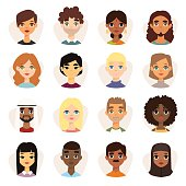 Set of diverse round avatars with facial features different nationalities