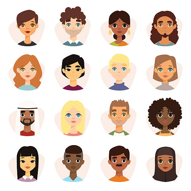 Set of diverse round avatars with facial features different nationalities Set of diverse round avatars with facial features different nationalities, clothes and hairstyles. Cute different nationalities flat cartoon style faces avatars different nationalities man and woman. ethnicity stock illustrations