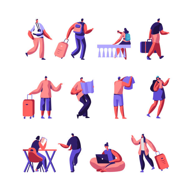 Set of Diverse Young People with Luggage and Maps Traveling and Stay in Hotel or Hostel. Male, Female Tourist Characters Staying at Night, Accommodation for Travelers. Cartoon Flat Vector Illustration Set of Diverse Young People with Luggage and Maps Traveling and Stay in Hotel or Hostel. Male, Female Tourist Characters Staying at Night, Accommodation for Travelers. Cartoon Flat Vector Illustration bedroom clipart stock illustrations