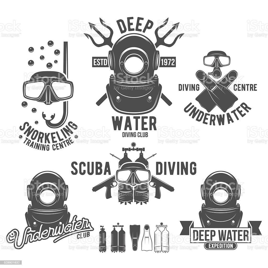 set of diving vintage labels and logos vector art illustration