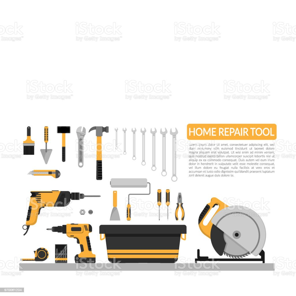 Set Of DIY Home Repair Working Tools Vector Logo Design Template. Home  Repair Banner,