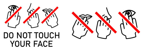 Set of do not touch your face icon. Simple black white drawing with hand touching mouth, nose, eye crossed by red line. Can be used during coronavirus covid-19 outbreak prevention vector art illustration