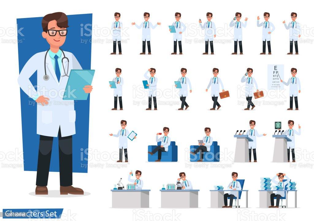医師キャラクター デザインのセットです。 - イラストレーションのロイヤリティフリーベクトルアート