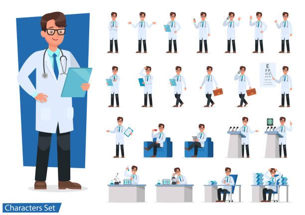 의사 캐릭터 디자인의 설정. - doctor stock illustrations