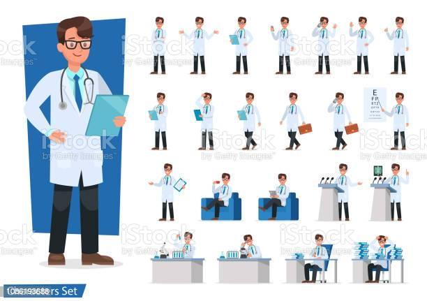 医師キャラクター デザインのセットです - イラストレーションのベクターアート素材や画像を多数ご用意