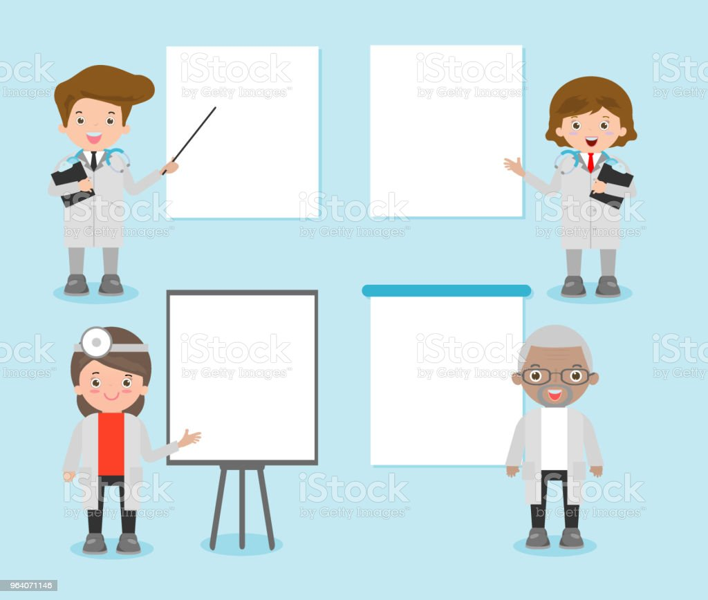 set of doctor character with blank banners, practitioner young doctor man and woman with placards for your message. Hospital medical team doctors - Royalty-free Adult stock vector