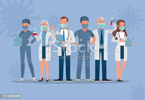istock Set of doctor wear medical mask. Corona virus quarantine concept character vector design 1214603495