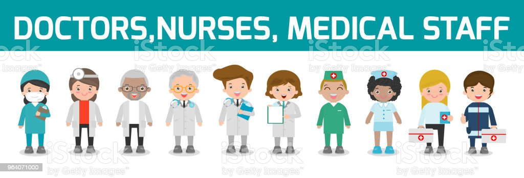 389a28d3bb602 set of doctor,nurses,medicine staff in flat style isolated on white  background.