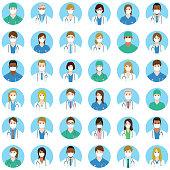 36 doctors and nurses avatars.