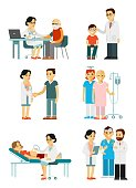 Medical staff and illness people in hospital. Consultation, medical diagnosis and treatment. Vector illustration in flat style isolated on white background.