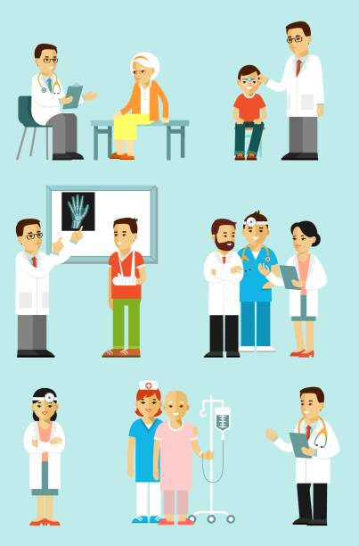 set of doctors and patients in different situation. - cancer patient stock illustrations