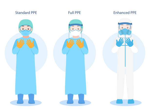 Set of Doctors Character wearing in PPE personal protective suit Clothing isolated and Safety Equipment Set of Doctors Character wearing in PPE personal protective suit Clothing isolated and Safety Equipment for prevent Corona virus, people wearing Personal Protective Equipment.Work safety protective workwear stock illustrations