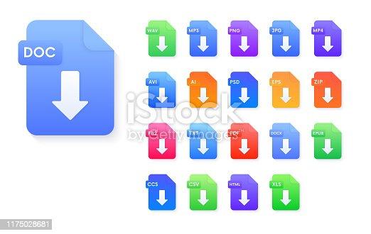 Set of document file formats download icons. Pdf,avi,wav,mp3,png,jpg,ai,psd,eps,zip,epub,doc,fb2,ccs,csv,html,xls vector signs.
