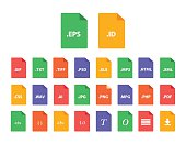 Set of Document File Formats in flat style