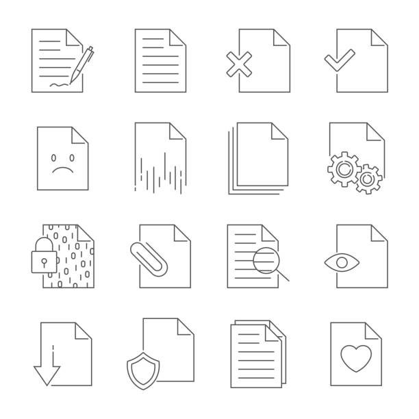 Set of Document Flow Management Vector Line Icons. Editable Stroke vector art illustration