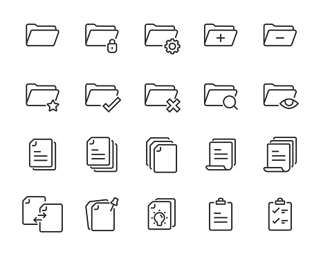 set of document icons, such as paper, information, office, folder, page