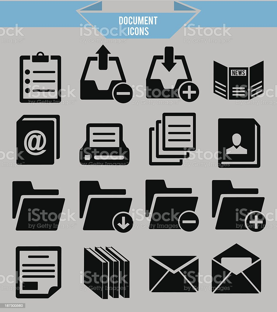 Set of document icons royalty-free stock vector art