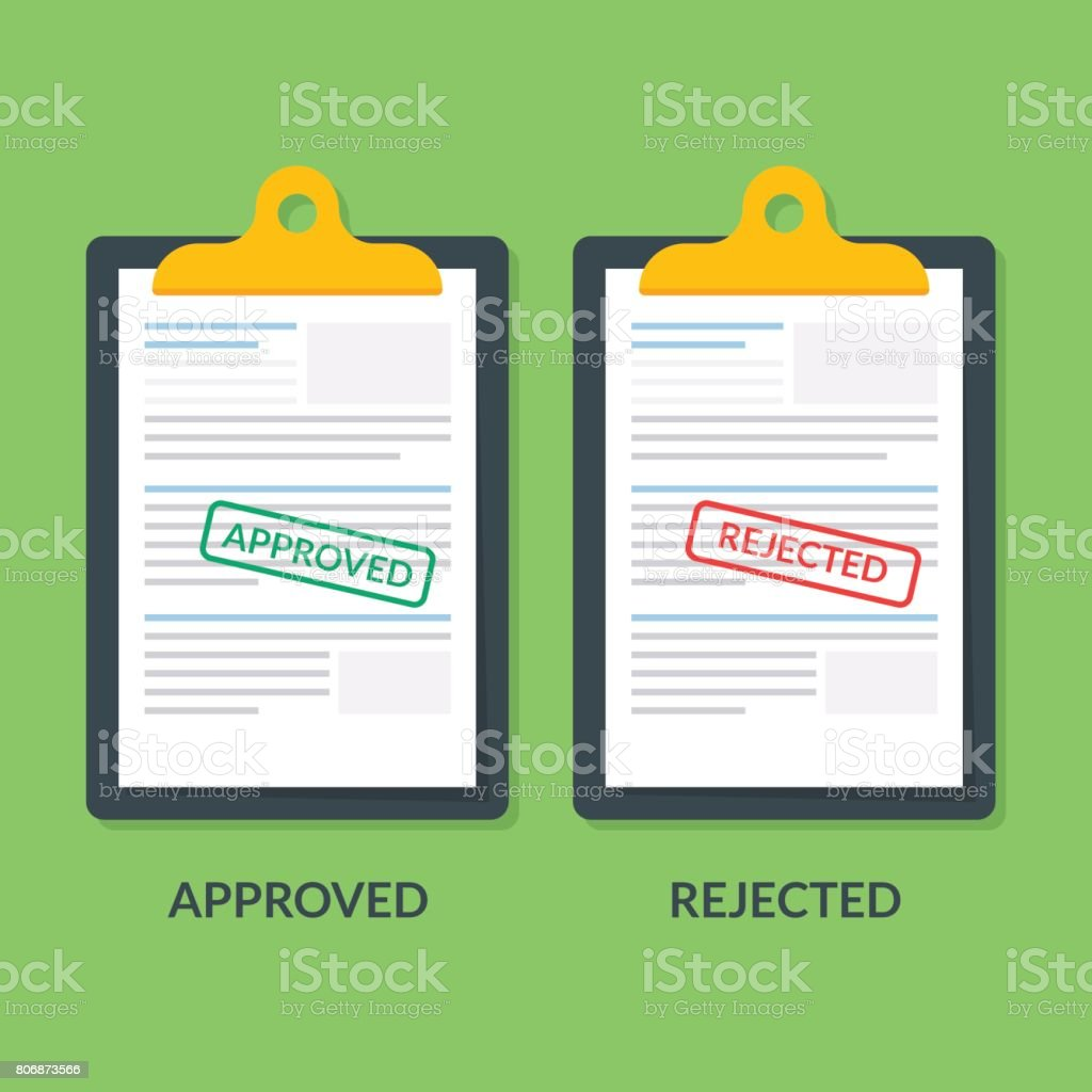 set of documents on the clipboard. Printing is approved or reject. Tax return or credit document. Business documentation. Premium quality vector illustration in flat style. vector art illustration