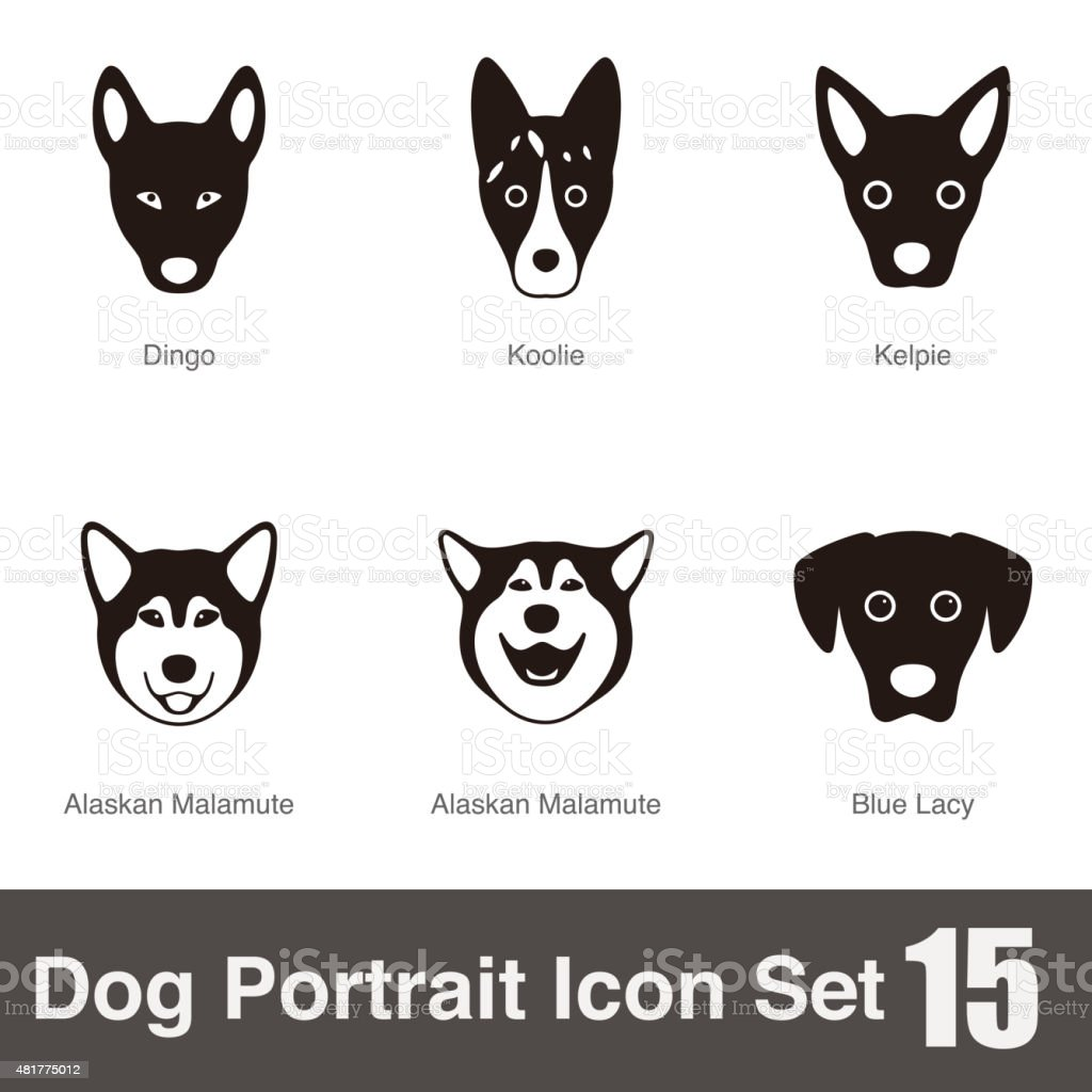 Set Of Dog Breeds Black And White Side View Vector Stock ...