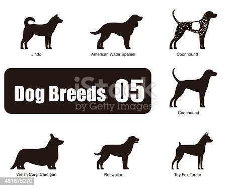 Dog breeds,  standing on the ground, side,silhouette, black and white, vector illustration, dog cartoon image series