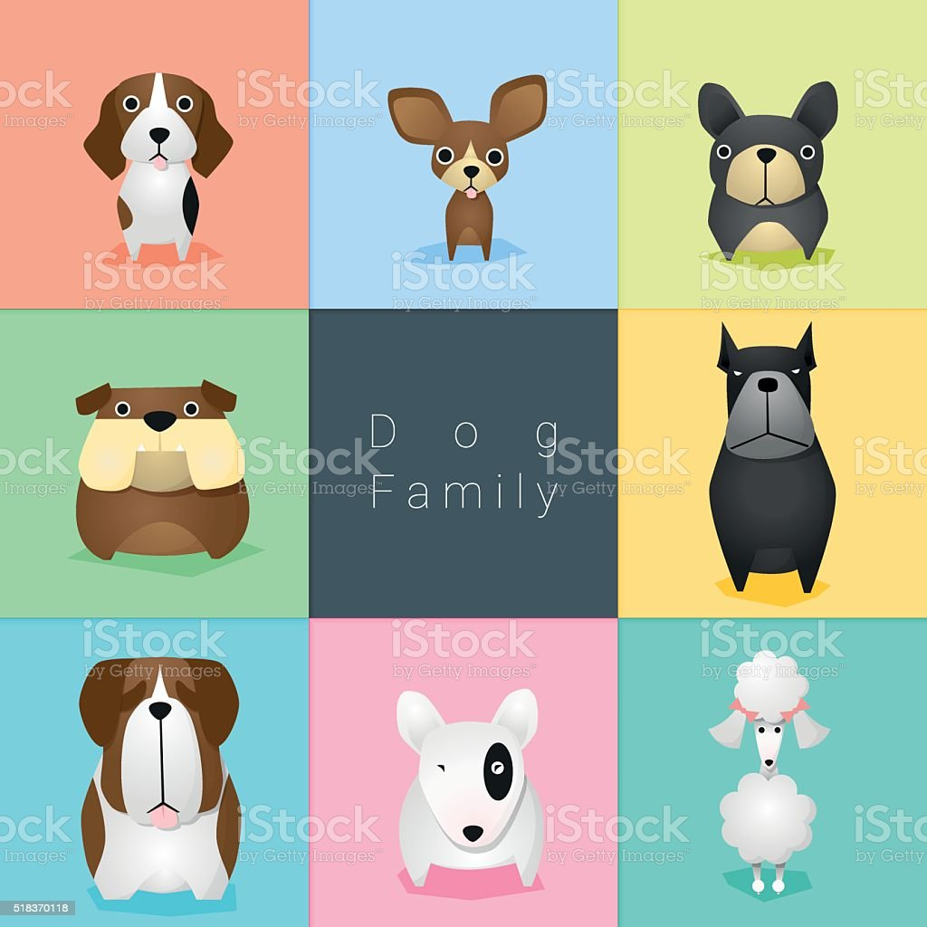 Set of dog family 2 vector art illustration