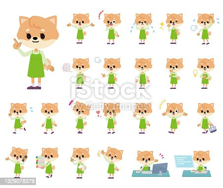 A set of Dog girl with who express various emotions