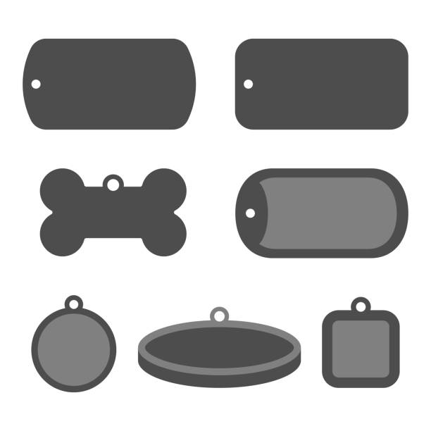 犬のタグ id バッジのセットです。識別ラベル - 骨点のイラスト素材/クリップアート素材/マンガ素材/アイコン素材