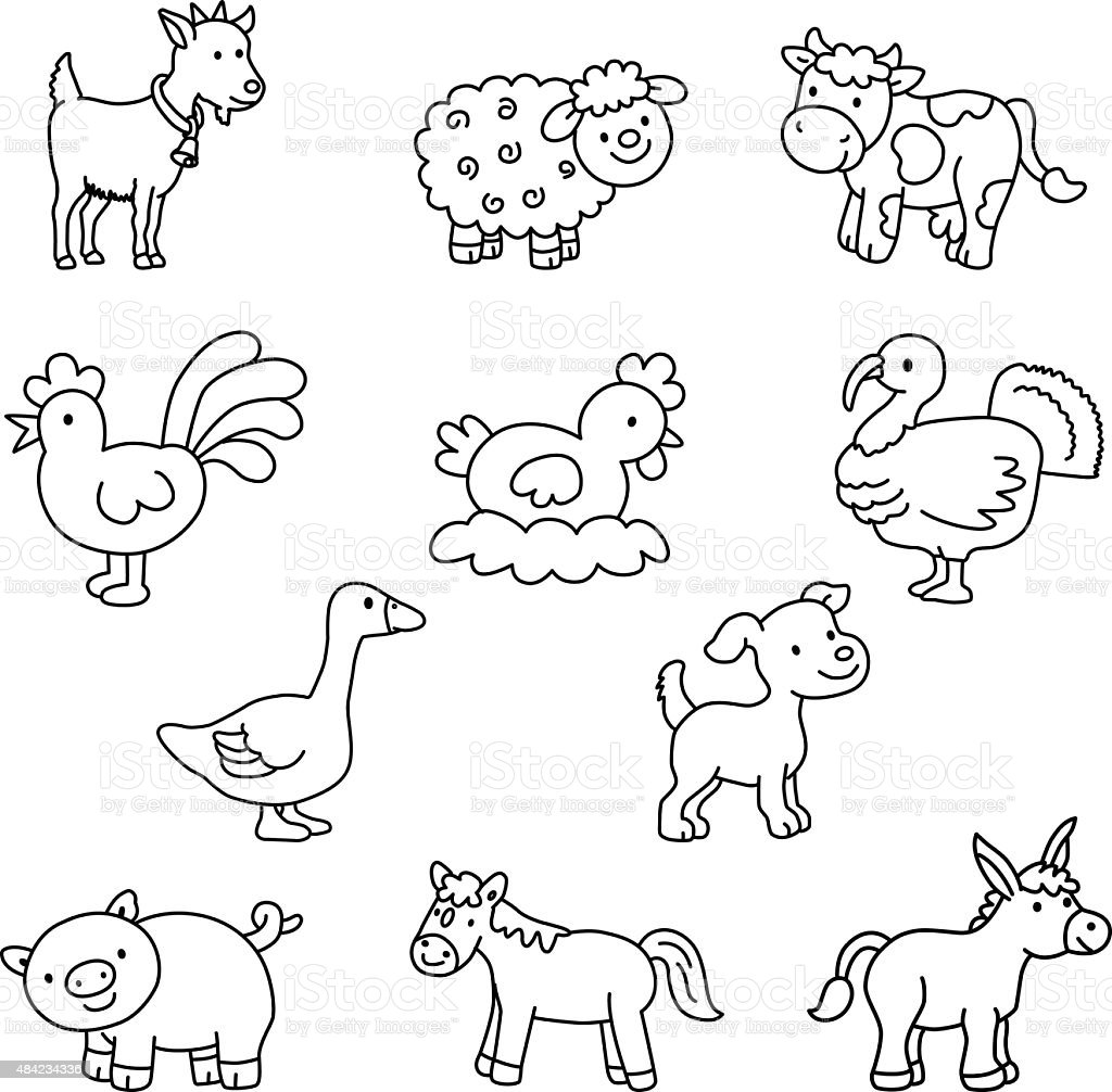 set of domestic animals vector stock vector art more images of 2015 484234336 istock. Black Bedroom Furniture Sets. Home Design Ideas